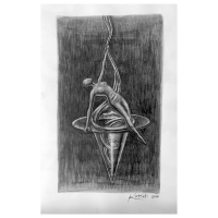 "Mark Kostabi Signed ""Spiraling Iinto Control"" 13x8 Original Artwork at PristineAuction.com"