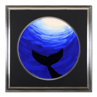 "Wyland Signed ""Whale Tail"" 28x28 Custom Framed Original Watercolor Painting at PristineAuction.com"