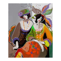 "Isaac Maimon Signed ""Casual Conversation"" 31x24 Original Acrylic Painting on Canvas at PristineAuction.com"