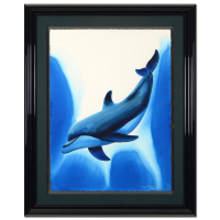 "Wyland Signed ""Dolphin Encounter"" 32x40 Custom Framed Original Watercolor Painting at PristineAuction.com"