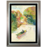 "Alex Zwarenstein Signed ""Bridge Across The Wye"" 32x44 Custom Framed Original Oil Painting on Canvas at PristineAuction.com"