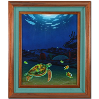 "Wyland Signed ""Reef of Life (With Reef)"" 23x27 Custom Framed Original Oil Painting on Canvas at PristineAuction.com"