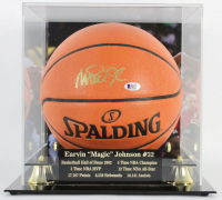 Magic Johnson Signed NBA Game Ball Series Basketball with Display Case (Beckett COA) at PristineAuction.com
