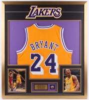 Kobe Bryant Los Angeles Lakers 32x36 Custom Framed Jersey with Championship Pin at PristineAuction.com