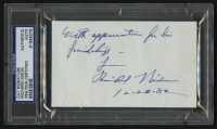 "Richard Nixon Signed 3x5 Cut Inscribed ""Love,"" ""12-28-82"", & ""With Appreciation for His Friendship"" (PSA Encapsulated) at PristineAuction.com"