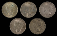 Lot of (5) Peace Silver Dollars with 1922-D, 1922, (2) 1923-S, & 1924 at PristineAuction.com