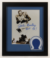 """John Mackey Signed Baltimore Colts 13x15 Custom Framed Photo Display Inscribed """"HOF 92!"""" with Colts Patch (PSA COA) at PristineAuction.com"""