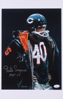 """Gale Sayers Signed Chicago Bears 11x17 Print Inscribed """"HOF '77"""" (JSA COA) at PristineAuction.com"""