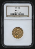 1911 $5 Five Dollars Indian Head Half Eagle Gold Coin (NGC MS 62) at PristineAuction.com