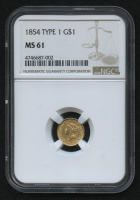 1854 $1 Liberty Head Gold Coin - Type 1 (NGC MS 61) at PristineAuction.com