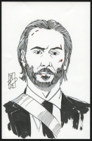 "Tom Hodges - John Wick - Keanu Reeves - Signed ORIGINAL 5.5"" x 8.5"" Drawing on Paper (1/1) at PristineAuction.com"