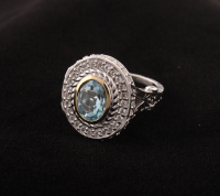 Sterling Silver Blue & White Topaz Halo Ring-SZ 5 at PristineAuction.com