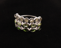 Sterling Silver Multi Gemstones Three-Row Band Ring-SZ 9 at PristineAuction.com