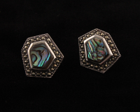 Sterling Silver Abalone & Marcasite Hexagonal Stud Earrings at PristineAuction.com