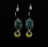 Sterling Silver 3.92ct Peridot & Green Agate Drop Earring at PristineAuction.com