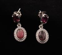Sterling Silver Rhodonite & Garnet Dangle Earrings at PristineAuction.com