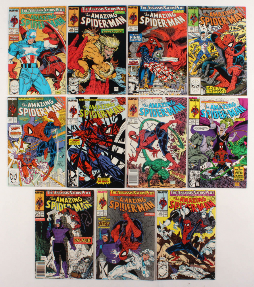 """Consecutive Lot of (11) 1989 """"The Amazing Spider-Man"""" Marvel Comic Books with #317-#327 at PristineAuction.com"""
