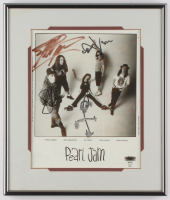 Pearl Jam 11.25x13.25 Custom Framed Photo Display Group-Signed by (4) with Eddie Vedder, Stone Gozzard, Dave Abbruzzese & Mike McCready (JSA ALOA) at PristineAuction.com