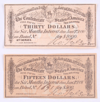 Lot of (2) 1864 Confederate States of America Richmond CSA Bank Note Bond with (1) $30 Thirty Dollar & (1) $15 Fifteen Dollar at PristineAuction.com