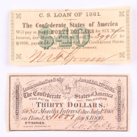 Lot of (2) Confederate States of America Richmond CSA Bank Note Bonds with (1) 1864 $30 Thirty-Dollar Note & (1) 1861 $40 Forty-Dollar Note at PristineAuction.com