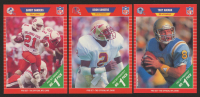 Lot of (3) 1989 Score Football Rookie Cards with #486 Deion Sanders, #494 Barry Sanders, & #490 Troy Aikman at PristineAuction.com
