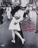 "George Mendonsa Signed VJ Day Iconic New York Times Square 11x14 Photo Inscribed ""Times Square,"" ""V.J. Day 8/14/45,"" & ""USS The Sullivans, QM I/C"" (Beckett COA) at PristineAuction.com"