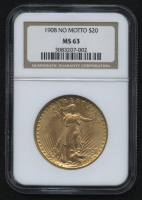 1908 $20 Saint-Gaudens Double Eagle Gold Coin - No Motto (NGC MS 63) at PristineAuction.com