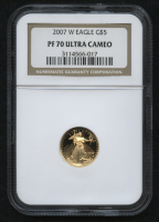 2007-W $5 Five Dollars American Gold Eagle Saint-Gaudens - 1/10 Oz Gold Coin - Proof (NGC PF 70 Ultra Cameo) at PristineAuction.com