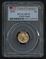 2018 $5 Five Dollars American Gold Eagle Saint-Gaudens 1/10 Oz Gold Coin - First Strike (PCGS MS 70) at PristineAuction.com