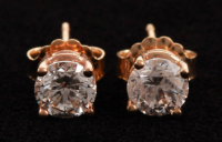 Pair of 14Kt Yellow Gold Diamond Solitaire Stud Earrings at PristineAuction.com