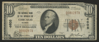 1929 $10 Ten Dollars U.S. National Currency Bank Note with Brown Seal (The National Bank of the Republic of Chicago, Illinois) at PristineAuction.com