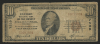 1929 $10 Ten-Dollar U.S. National Currency Bank Note with Brown Seal (Old Merchants National Bank and Trust Company of Battle Creek, Michigan) at PristineAuction.com