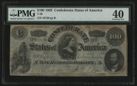 1862 $100 One Hundred Dollars Confederate States of America Richmond CSA Bank Note Bill (T-49) (PMG 40) at PristineAuction.com