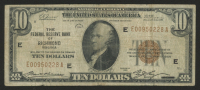 1929 $10 Ten-Dollar U.S. National Currency Bank Note with Brown Seal (The Federal Reserve of Richmon, Virginia) at PristineAuction.com