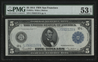 1914 $5 Five Dollars Federal Reserve Large Size Bank Note - FRN - San Francisco (PMG 53) (EPQ) at PristineAuction.com