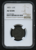 1825 1/2¢ Braided Hair Half Cent Coin (NGC AU 50 BN) at PristineAuction.com