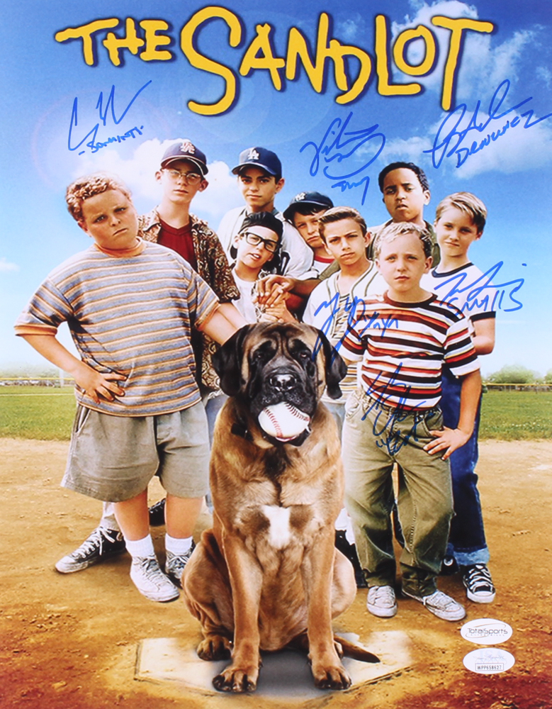 """""""The Sandlot"""" 11x14 Photo Cast-Signed by (6) with Tom Guiry, Marty York, Shane Obedzinski, Victor DiMattia, Chauncey Leopard, & Brandon Adams with Character Inscriptions (TSE COA & JSA Hologram) at PristineAuction.com"""