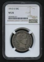 1913-S 50¢ Barber Half Dollar (NGC VF 25) at PristineAuction.com