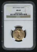 2012 $10 Ten Dollars American Gold Eagle Saint-Gaudens - 1/4 Oz Gold Coin (NGC MS 69) at PristineAuction.com