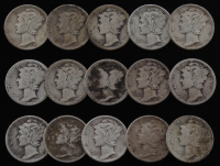 Lot of (15) 1920-1945 Mercury Silver Dimes at PristineAuction.com
