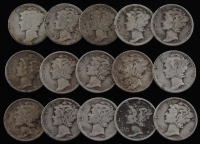 Lot of (15) 1917-1944 Mercury Silver Dimes at PristineAuction.com