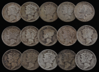 Lot of (15) 1916-1945 Mercury Silver Dimes at PristineAuction.com