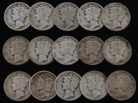 Lot of (15) 1920-1943 Mercury Silver Dimes at PristineAuction.com