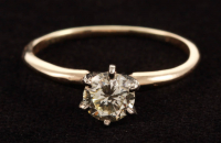 14Kt Yellow Gold & Diamond Solitaire Engagement Ring at PristineAuction.com