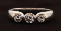14Kt White Gold Three Stone Diamond Ring at PristineAuction.com