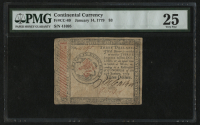 1779 Continental Currency $3 Three Dollars - Revolutionary War Era Currency (PMG 25) at PristineAuction.com