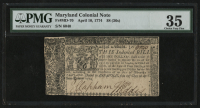 1774 - 36 Shillings - Maryland Colonial Currency Note - Revolutionary War Era Currency (PMG 35) at PristineAuction.com