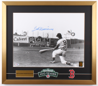 Ted Williams Signed Boston Red Sox 22x25 Custom Framed Photo Display with (2) Boston Red Sox Patches (Ted Williams Hologram & PSA LOA- Autograph Graded 10) at PristineAuction.com