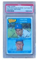 Sandy Koufax & Don Drysdale Signed 1965 Topps #8 NL ERA Leaders (PSA Encapsulated) at PristineAuction.com