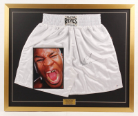 """Mike Tyson Signed 28x34 Custom Framed """"Cleto Reyes"""" Boxing Trunks Display (PSA COA) at PristineAuction.com"""